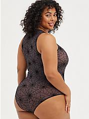 Plus Size Tank Bodysuit - Mesh Webs Black, RICH BLACK, alternate