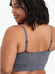 Plus Size Lightly Padded Bralette - Microfiber Heather Grey, CHARCOAL HEATHER, alternate