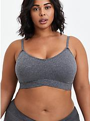 Plus Size Lightly Padded Bralette - Microfiber Heather Grey, CHARCOAL HEATHER, hi-res