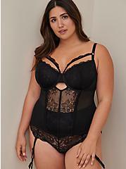 Strappy Underwire Bustier - Lace Black, RICH BLACK, hi-res