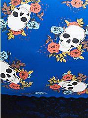 Lightly Padded Seamless Bralette - Skull Floral Blue, SPANISH AUTUMN, alternate