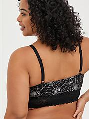 Plus Size Lightly Padded Bralette - Cotton-Blend Webs Black And Silver, RAINBOW WEBS, alternate