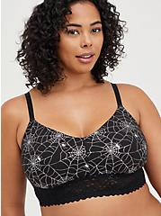 Plus Size Lightly Padded Bralette - Cotton-Blend Webs Black And Silver, RAINBOW WEBS, hi-res