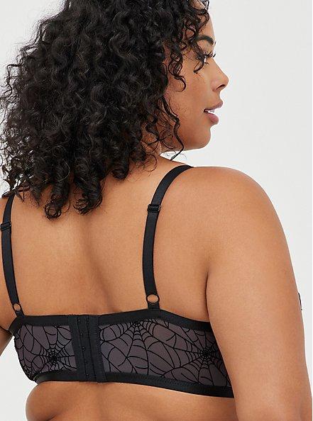 Strappy Underwire Longline Bralette - Mesh Webs Black, RICH BLACK, alternate