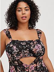 Plus Size Lace Front Cutout Bodysuit - Floral, HIBISCUS FLORAL, alternate