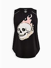 Plus Size Wicking Active Tank - Flaming Skull Black, DEEP BLACK, hi-res