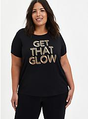 Black Get That Glow Wicking Active Crop Tee, DEEP BLACK, alternate