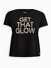 Black Get That Glow Wicking Active Crop Tee, DEEP BLACK, hi-res