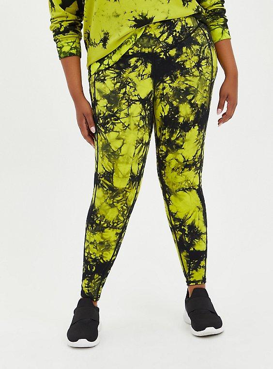 Green Tie Dye Wicking Active Legging, , hi-res