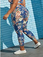 Blue Floral Active Wicking Legging, FLORALS-BLUE, alternate