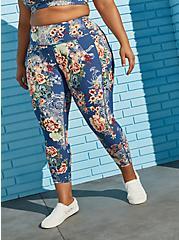 Blue Floral Active Wicking Legging, FLORALS-BLUE, hi-res