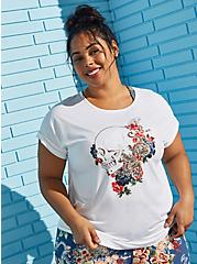 White Skull Floral Active Tee, BRIGHT WHITE, hi-res