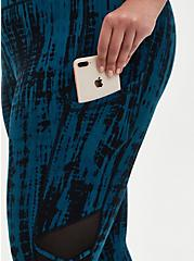 Teal Tie Dye Strappy Crop Wicking Active Legging, TIE DYE, alternate