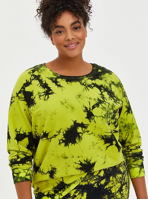 Green French Terry Tie Dye Active Sweatshirt , TIE DYE, hi-res