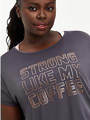 Grey Strong LIke My Coffee Wicking Active Tee , GREY, alternate