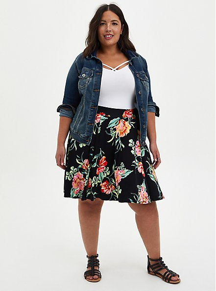 Black Floral Jersey Circle Mini Skirt, FLORAL - BLACK, alternate