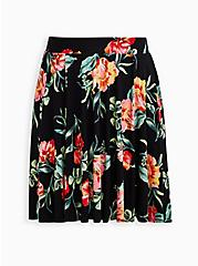 Black Floral Jersey Circle Mini Skirt, FLORAL - BLACK, hi-res