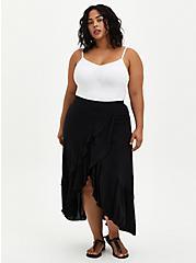 Black Challis Ruffle Hem Hi-Lo Maxi Skirt, DEEP BLACK, alternate