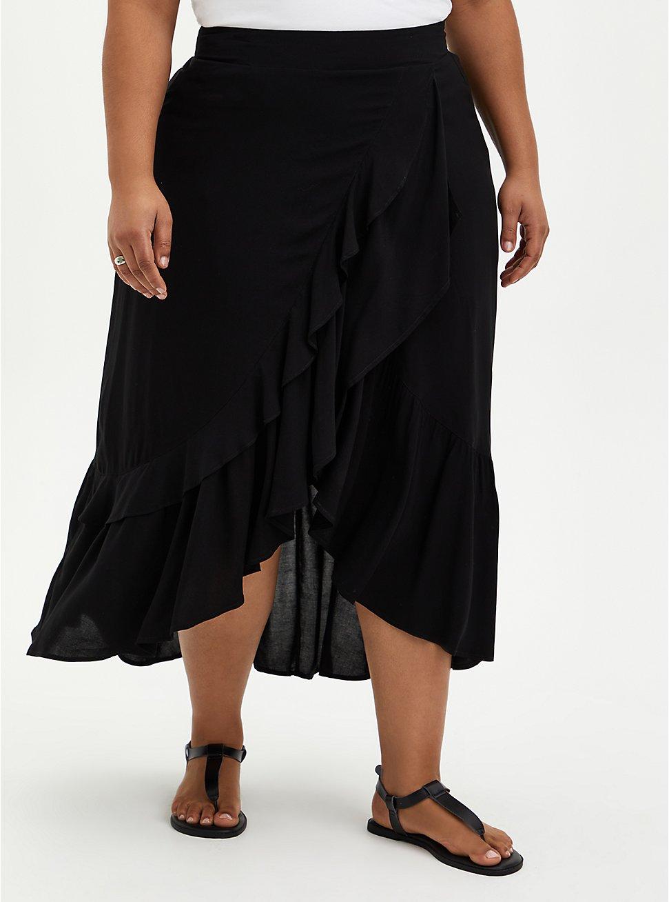Black Challis Ruffle Hem Hi-Lo Maxi Skirt, DEEP BLACK, hi-res