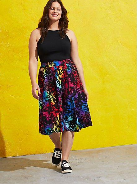 Celebrate Love Button Front Midi Skirt - Challis Black Tie Dye , TIE DYE-BLACK, hi-res
