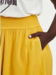 Yellow Woven Smock Waist Skater Skirt, , alternate