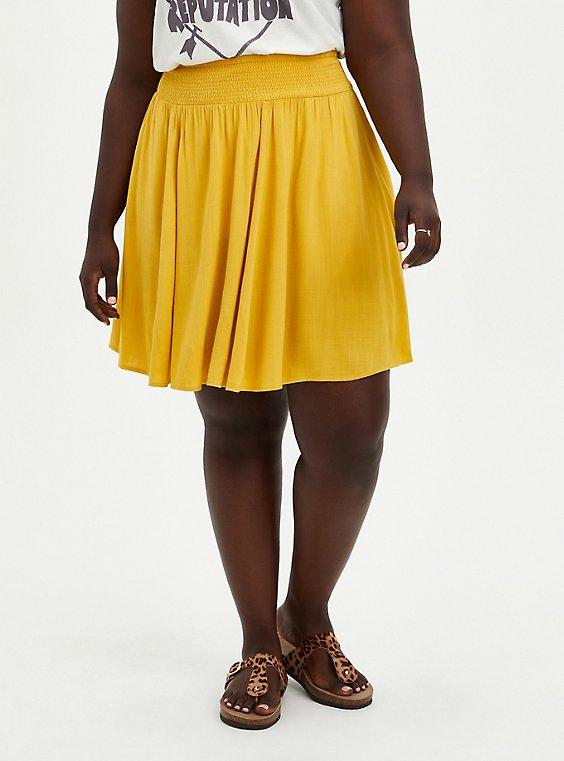Yellow Woven Smock Waist Skater Skirt, , hi-res
