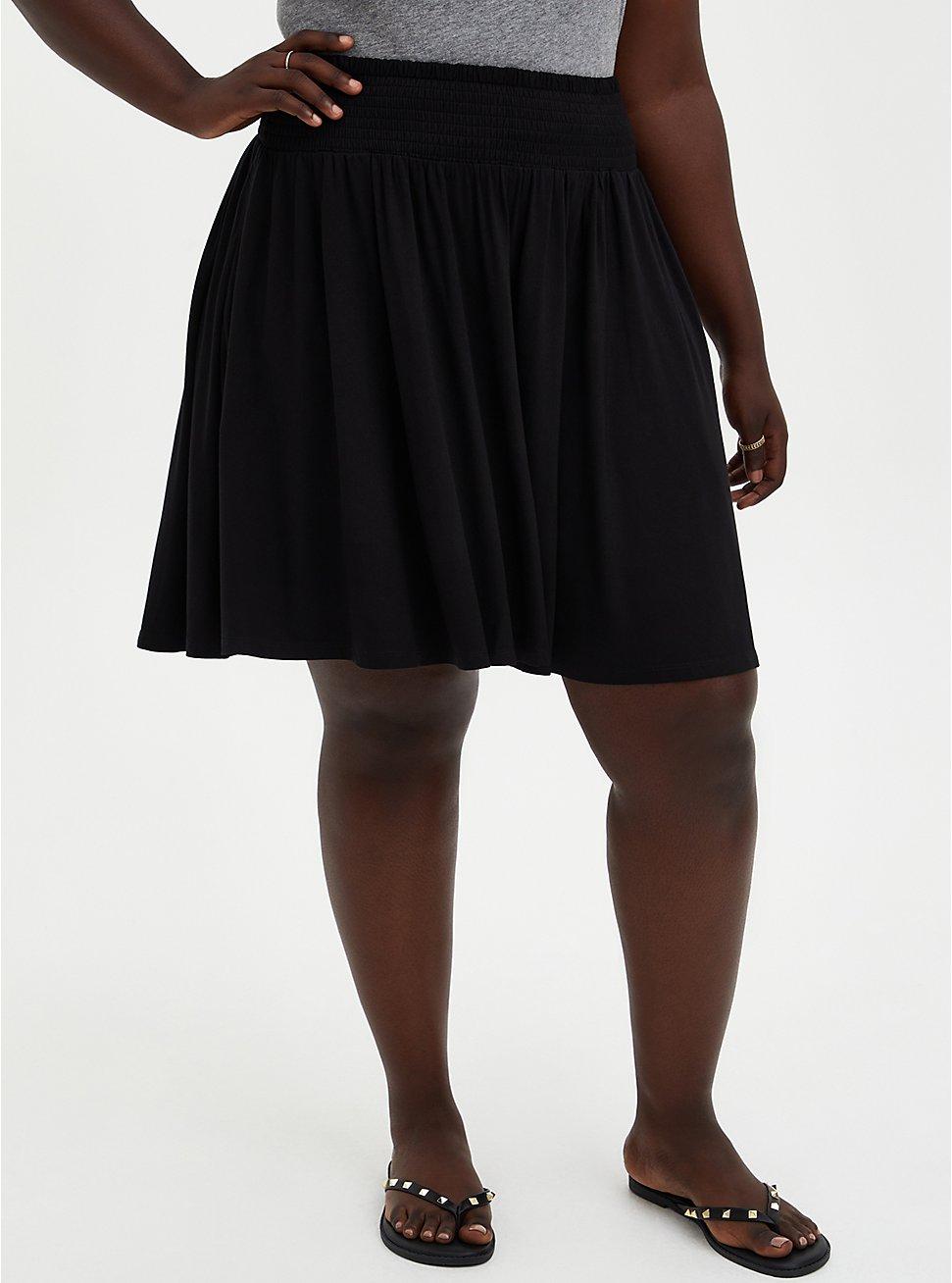 Black Super Soft Smock Waist Skater Skirt, DEEP BLACK, hi-res
