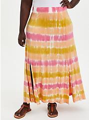 Plus Size Pink Dip Dye Double Slit Super Soft Maxi Skirt, TIE DYE-PINK, hi-res