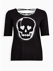 Plus Size Lovesick Skull - Black Super Soft Strappy Back Tee, DEEP BLACK, hi-res