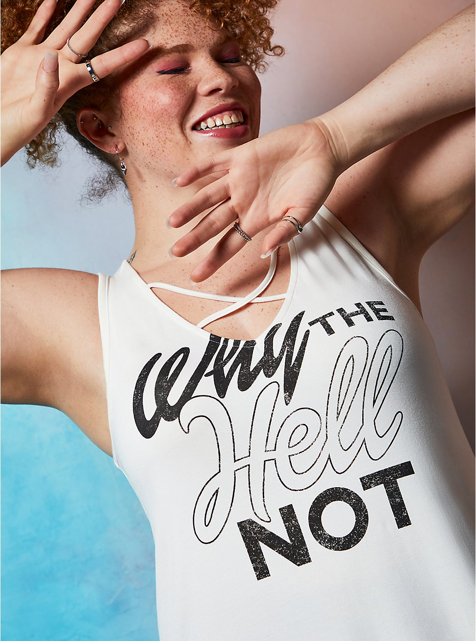 Lovesick Why The Hell Not – Ivory Super Soft Strappy Tank, IVORY, hi-res