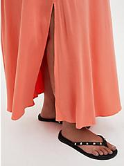 Slit Front Maxi Skirt -  Woven Rayon Coral, CORAL, alternate