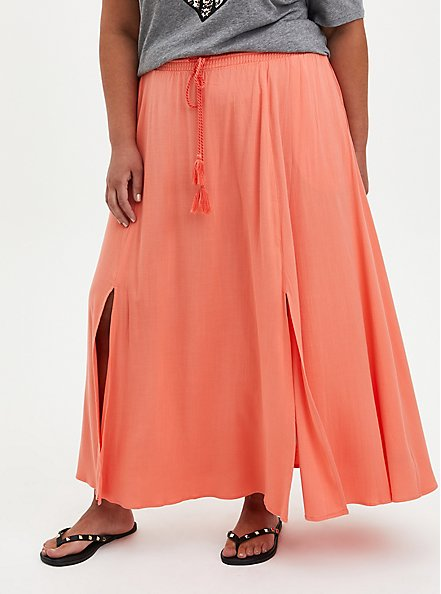 Slit Front Maxi Skirt -  Woven Rayon Coral, CORAL, hi-res