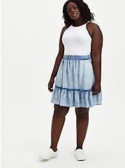Washed Chambray Ruffle Mini Skirt, CHAMBRAY, alternate