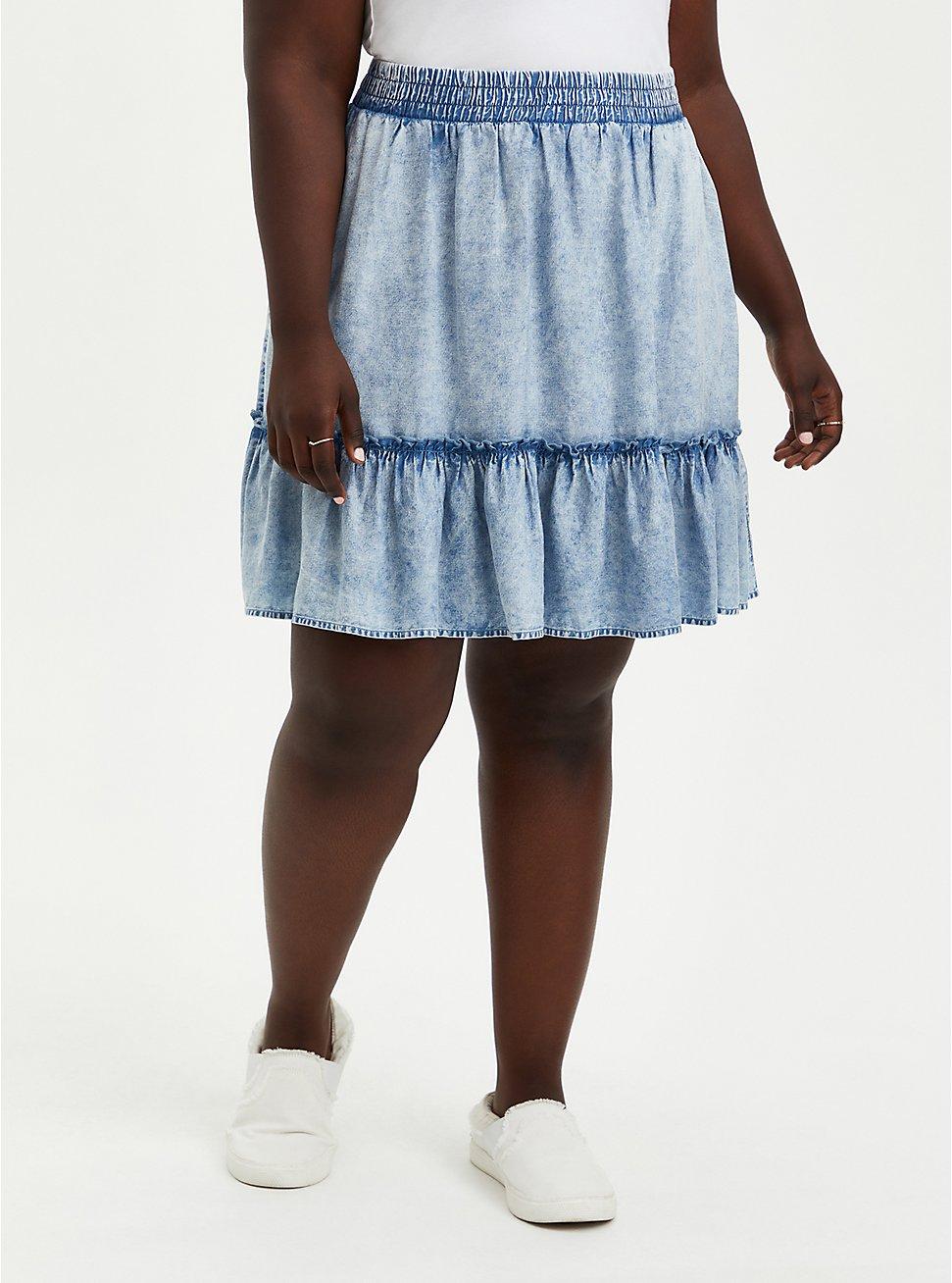 Washed Chambray Ruffle Mini Skirt, CHAMBRAY, hi-res