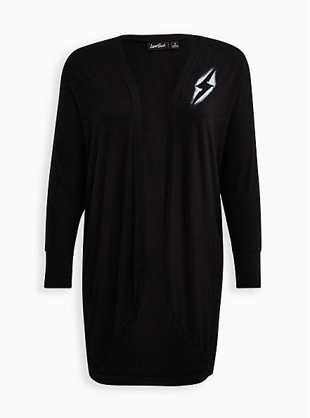 Lovesick Lightning Bolt – Black Super Soft Cocoon Kimono, , hi-res