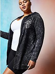 LoveSick Don't Tell Me To Smile - Black Mineral Wash Super Soft Zip Hoodie, BLACK, hi-res
