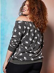 Lovesick Peace Skeleton – Black French Terry Off Shoulder Tunic Sweatshirt, , alternate