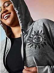 Lovesick Sun & Moon – Grey Wash French Terry Zip Hoodie, TIE DYE, alternate