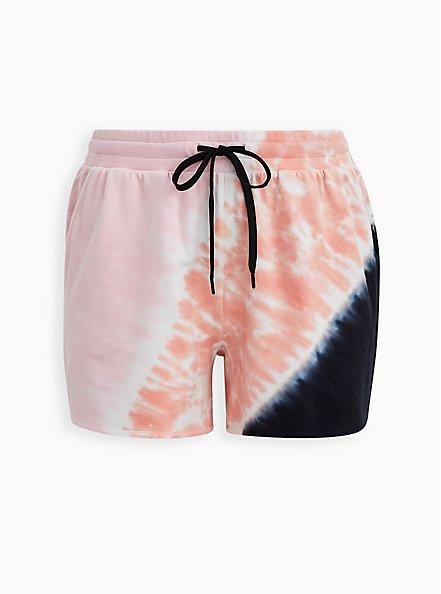 Plus Size Lovesick Multi Tie Dye French Terry Pull On Short, TIE DYE, hi-res