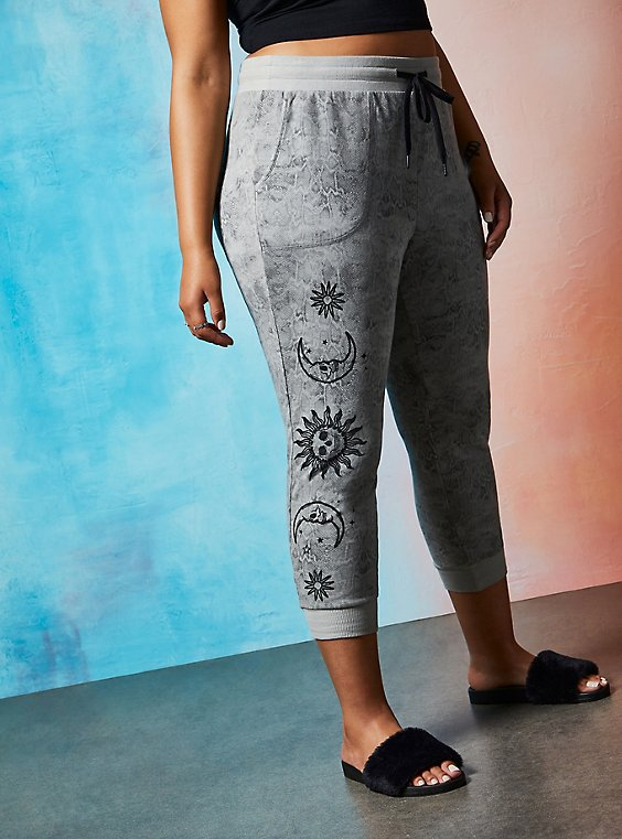 Lovesick Sun & Moon – Grey Wash French Terry Jogger, , hi-res