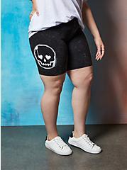 LoveSick Skull - Black Wash Bike Short, TIE DYE, alternate
