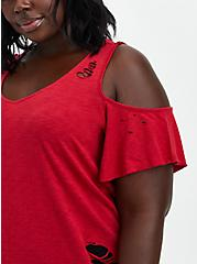 DC Comics Suicide Squad Red Cold-Shoulder Asymmetrical Top, JESTER RED, alternate