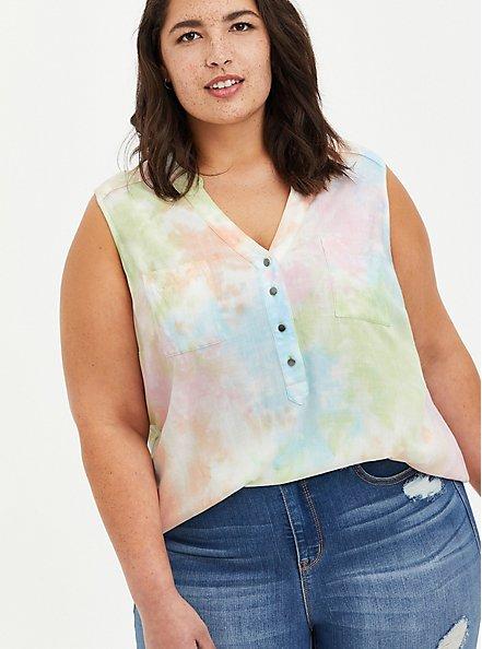 Harper - Multi Tie-Dye Rayon Pullover Tank, TIE DYE, hi-res