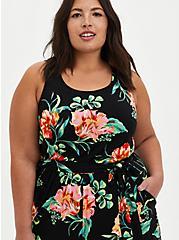 Black Floral Super Soft Jumpsuit , FLORAL - BLACK, alternate