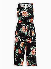 Black Floral Super Soft Jumpsuit , FLORAL - BLACK, hi-res