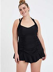 Black Ruched Halter Swim Dress - Short, DEEP BLACK, hi-res