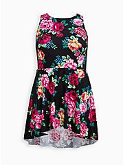 Scoop Neck Long Swim Dress - Floral, MULTI, hi-res