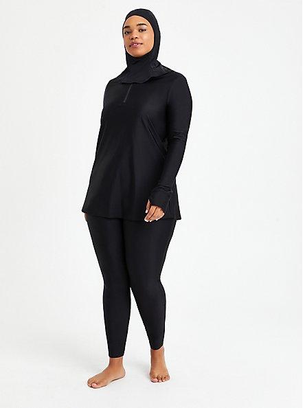 Full Length Swim Legging - Black , DEEP BLACK, alternate