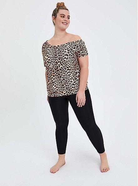 Leopard Off Shoulder Swim Shirt, MULTI, alternate