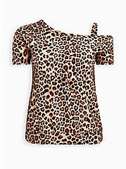 Leopard Off Shoulder Swim Shirt, MULTI, hi-res